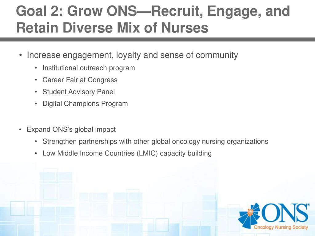 Oncology nursing society ppt download goal 2 grow onsrecruit engage and retain diverse mix of nurses 1betcityfo Choice Image