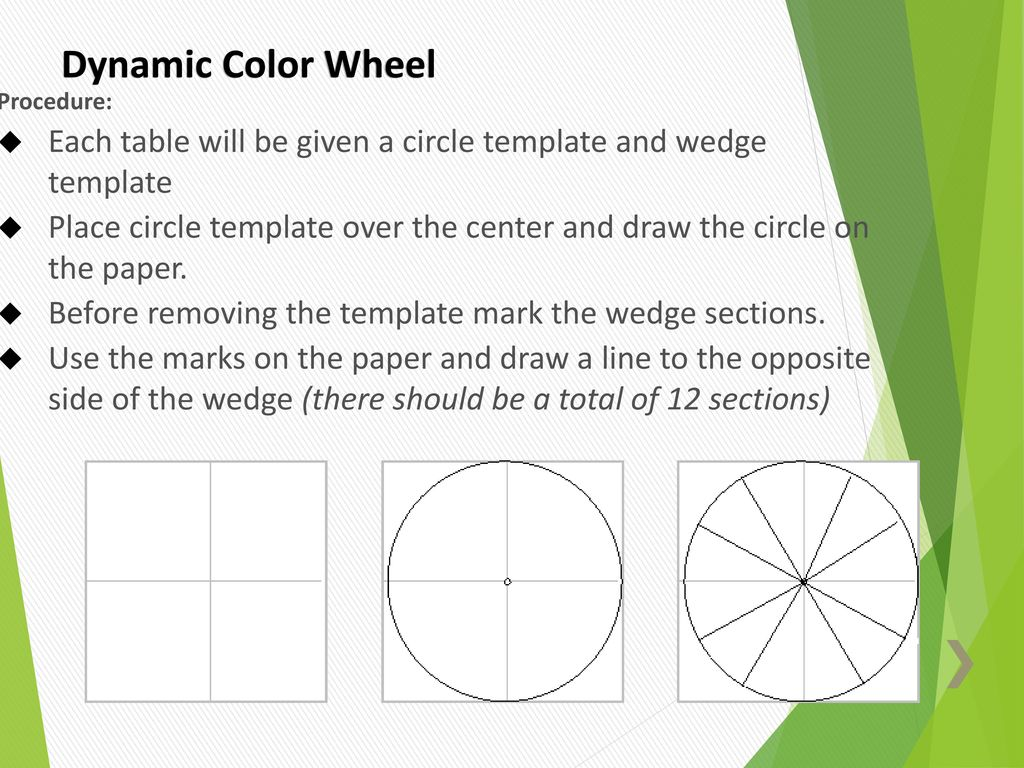 Dynamic Color Wheel Procedure Each Table Will Be Given A Circle Template And Wedge