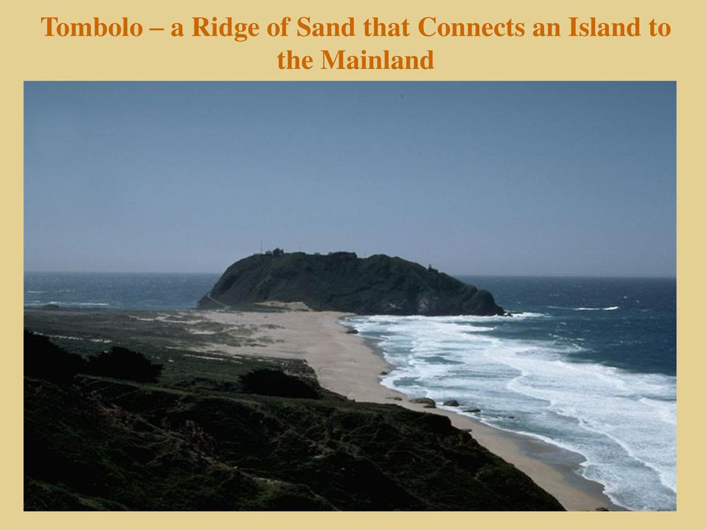 Shorelines chapter ppt download 38 tombolo a ridge of sand that connects an island to the mainland pooptronica
