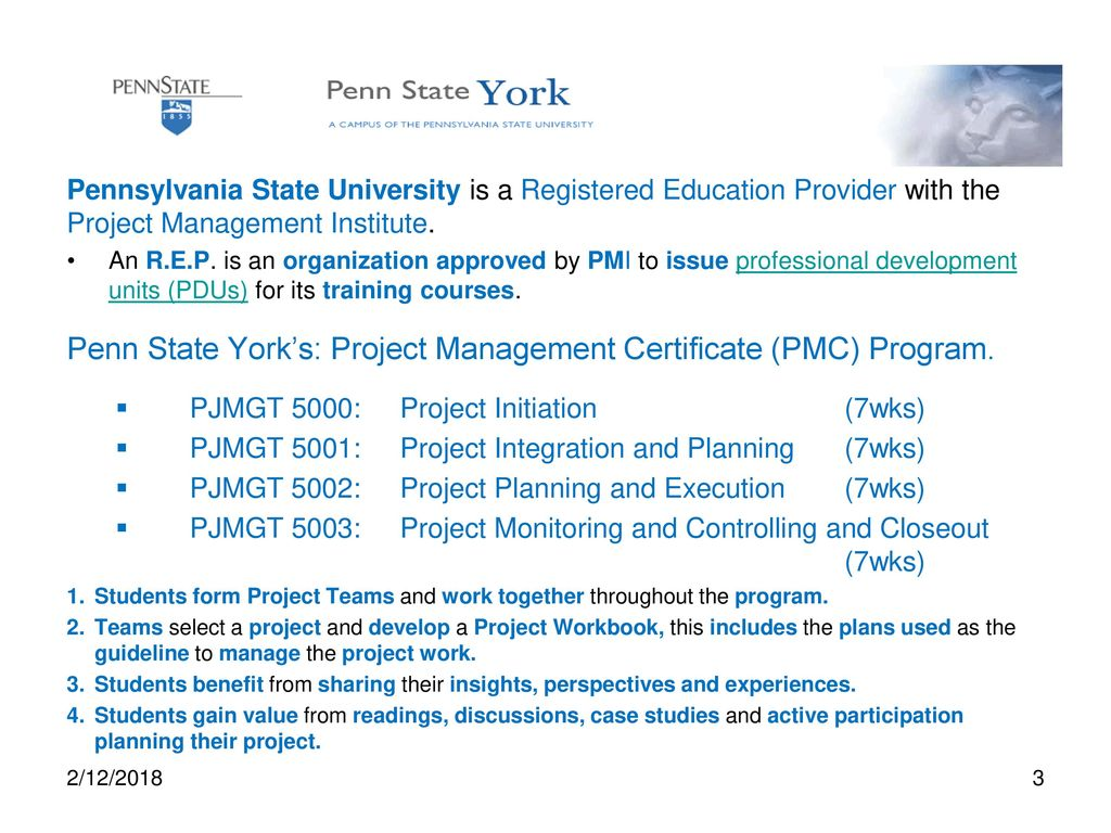 Project management certification pmc program ppt download 3 penn state yorks project management certificate pmc program 1betcityfo Choice Image