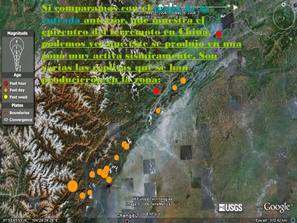 Si comparamos con el mapa de la entrada anterior, que muestra el epicentro del terremoto en China, podemos ver que éste se produjo en una zona muy activa sísmicamente.