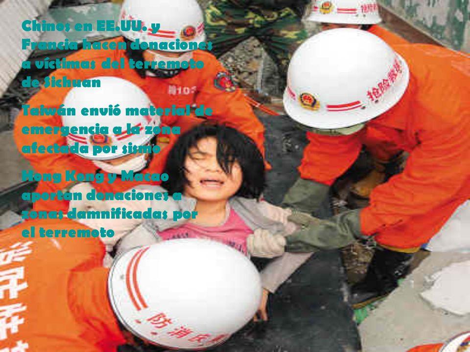 Chinos en EE.UU. y Francia hacen donaciones a víctimas del terremoto de Sichuan