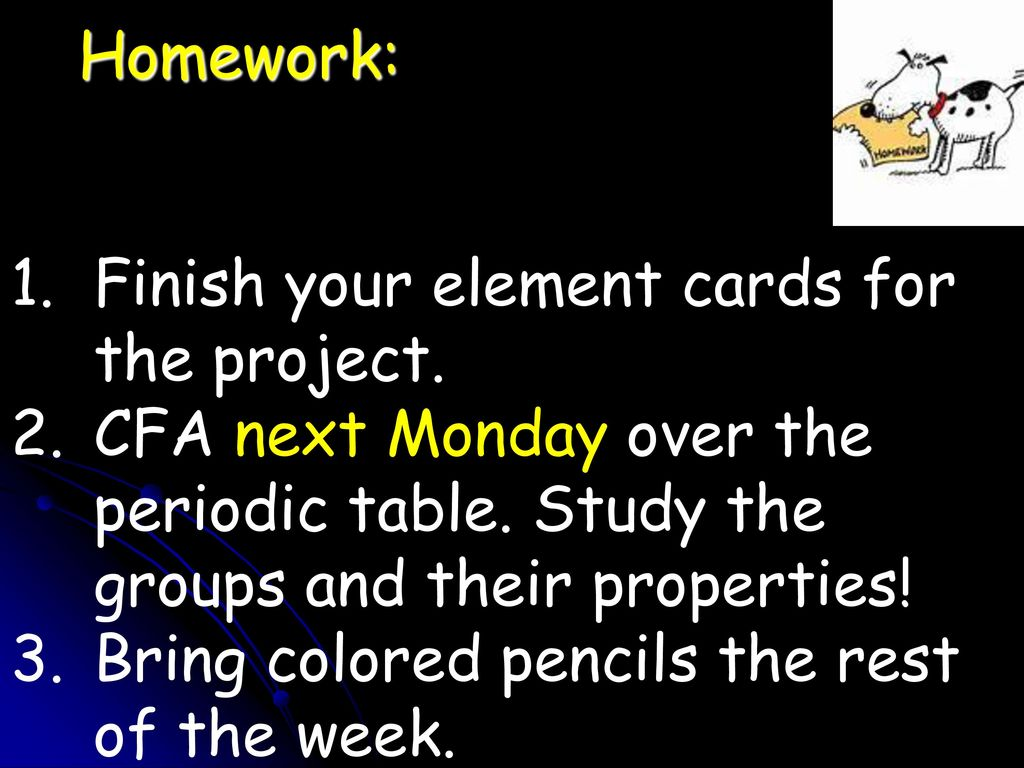 Periodic table of elements unit study images periodic table and unit 1 matter day 20 focus periodic table 92717 ppt download homework finish your element cards urtaz Images