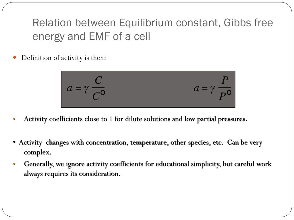 relationship of gibbs free energy and equilibrium constant