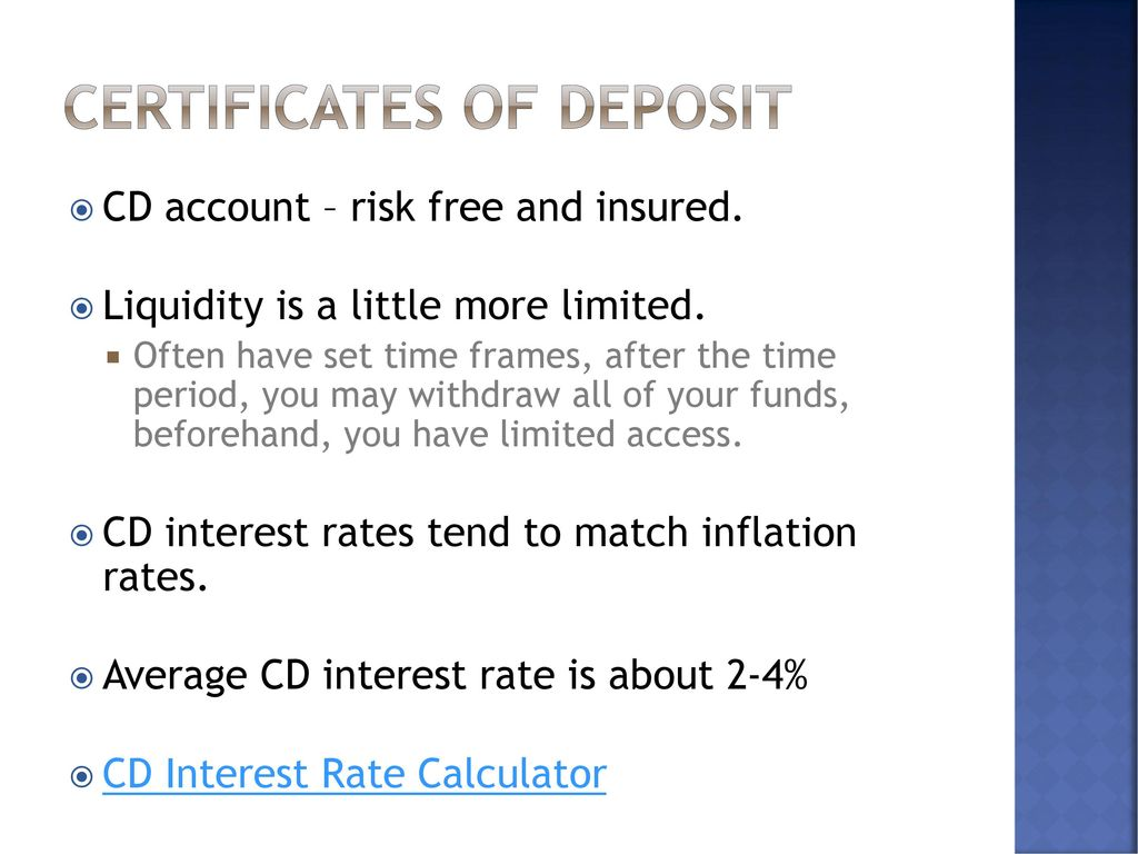 Savings and investment ppt download certificates of deposit 1betcityfo Image collections