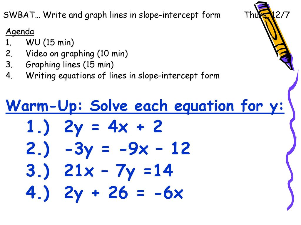 Swbat write and graph lines in slope intercept form thurs 127 write and graph lines in slope intercept form thurs 127 falaconquin