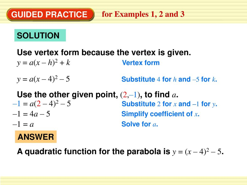 Write a quadratic function in vertex form ppt download use vertex form because the vertex is given y ax h falaconquin