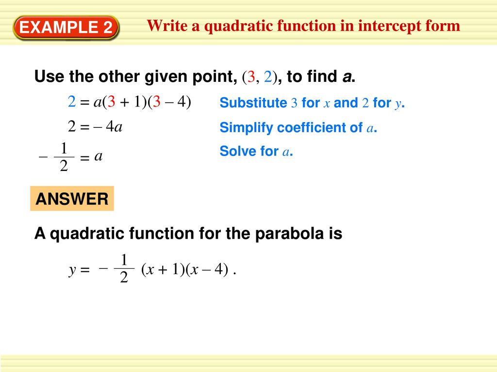 Write a quadratic function in vertex form ppt download write a quadratic function in intercept form falaconquin
