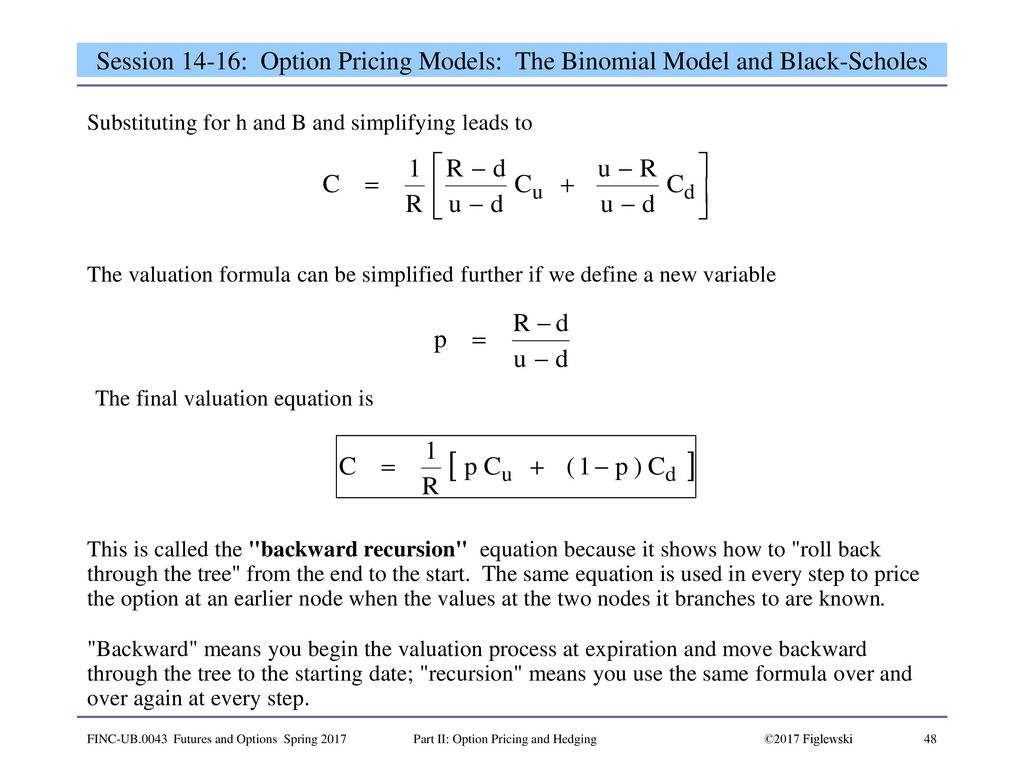 binomial and black and scholes pricing models essay Chapter 2: binomial methods and the black-scholes formula 21 binomial trees one-period model  numerical methods for option pricing in finance discrete black.