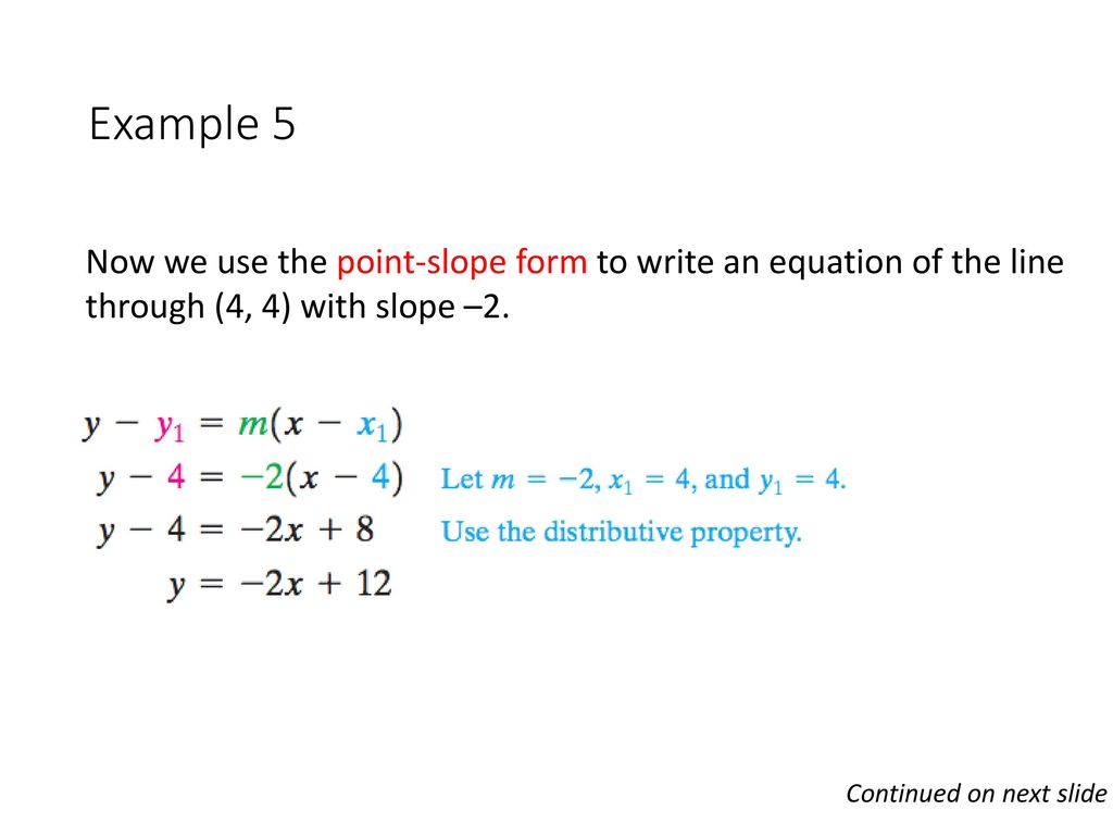 Graphs and functions presumed knowledge linear functions ppt download example 5 now we use the point slope form to write an equation of the falaconquin