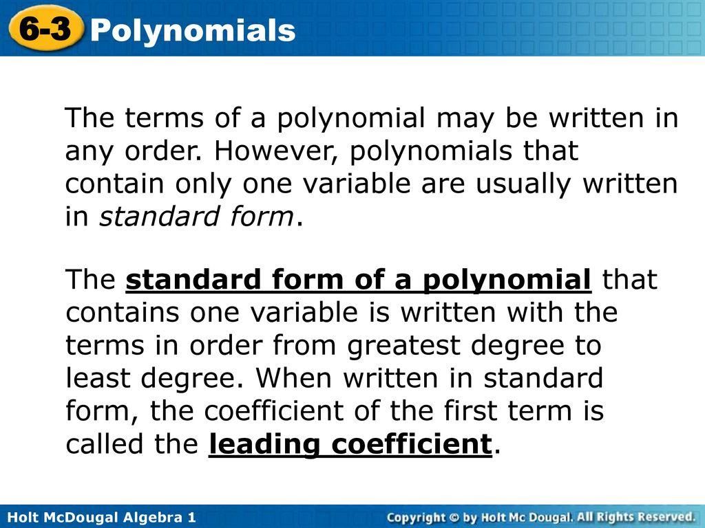 6 3 polynomials warm up lesson presentation lesson quiz ppt download the terms of a polynomial may be written in any order falaconquin