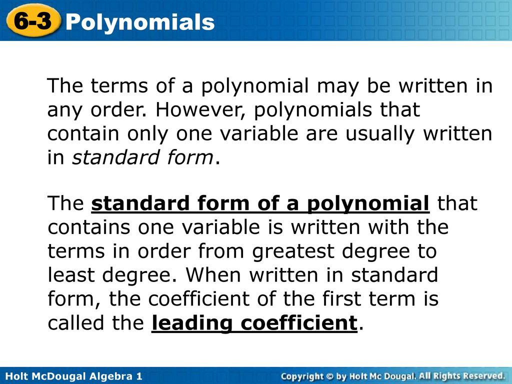 6 3 polynomials warm up lesson presentation lesson quiz ppt download 12 the falaconquin