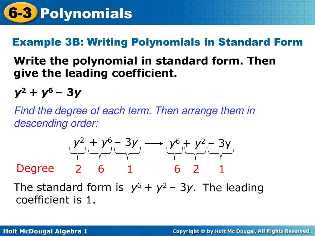 6 3 polynomials warm up lesson presentation lesson quiz ppt download example 3b writing polynomials in standard form falaconquin
