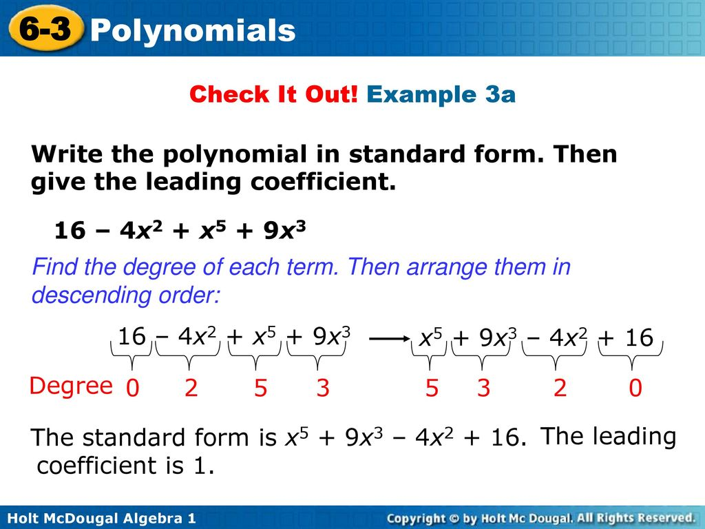 6 3 polynomials warm up lesson presentation lesson quiz ppt download example 3a write the polynomial in standard form then give the falaconquin