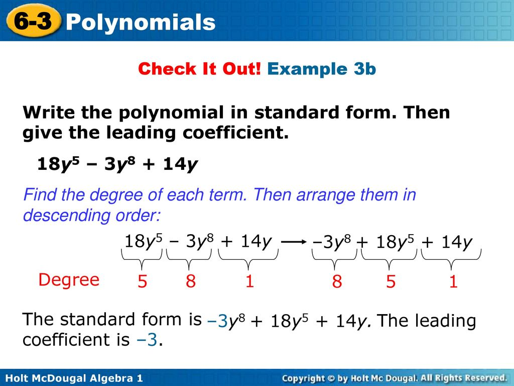 6 3 polynomials warm up lesson presentation lesson quiz ppt download example 3b write the polynomial in standard form then give the falaconquin