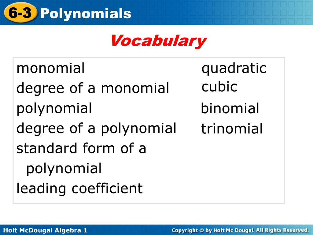 6 3 polynomials warm up lesson presentation lesson quiz ppt download vocabulary monomial degree of a monomial polynomial falaconquin