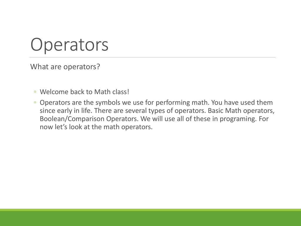 503 apply operators and boolean expressions ppt download operators what are operators welcome back to math class biocorpaavc