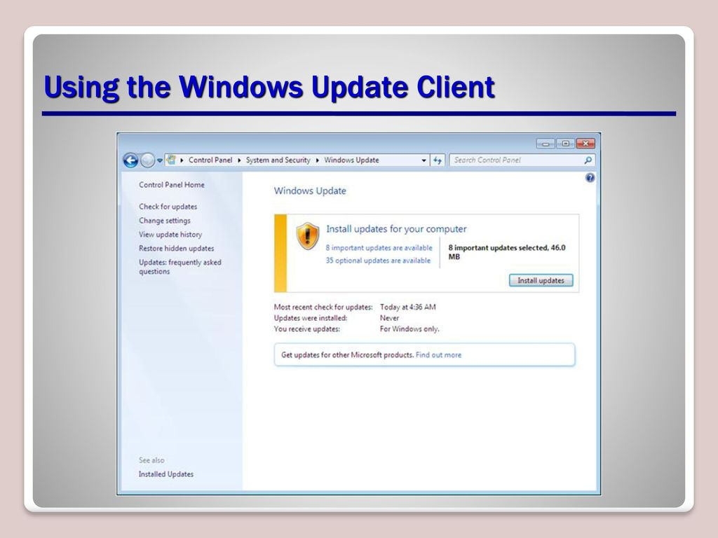 windows update website