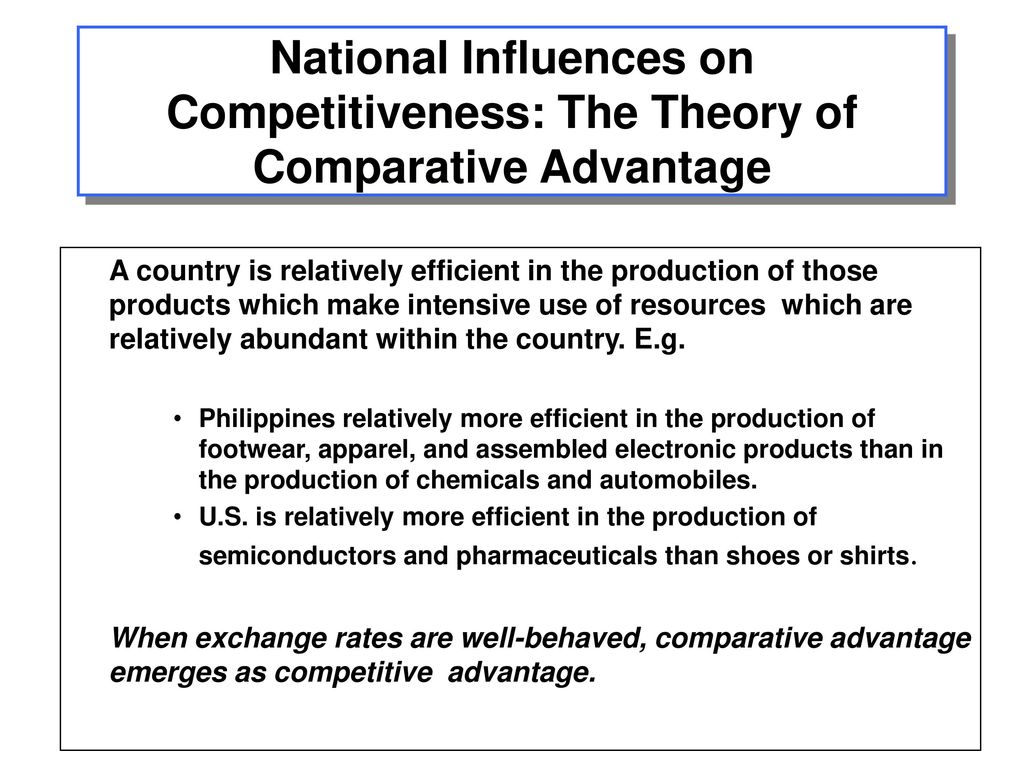 how comparative advantage influences business competition International business ch, 5-6  the assumptions of the absolute and comparative advantage theories  protection from international competition during their .