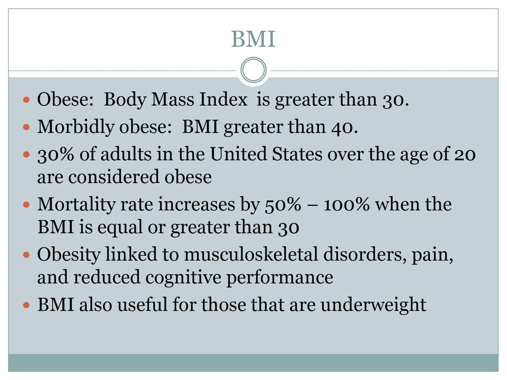 Bariatrics special populations ppt download 9 bmi geenschuldenfo Choice Image