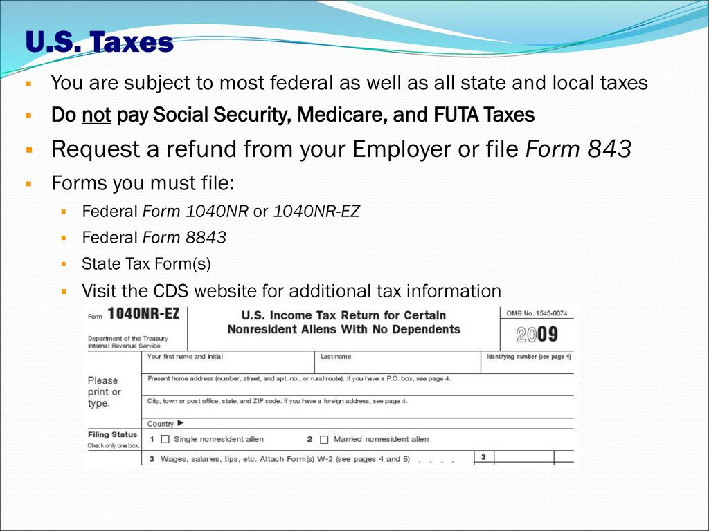 Usa pre departure session using an internal sponsor or swap ppt us taxes request a refund from your employer or file form 843 falaconquin