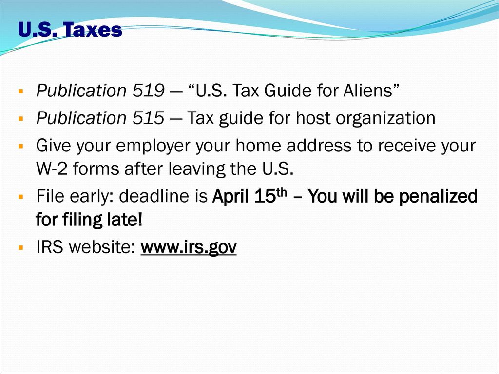 Usa pre departure session using an internal sponsor or swap ppt us taxes publication 519 us tax guide for aliens falaconquin