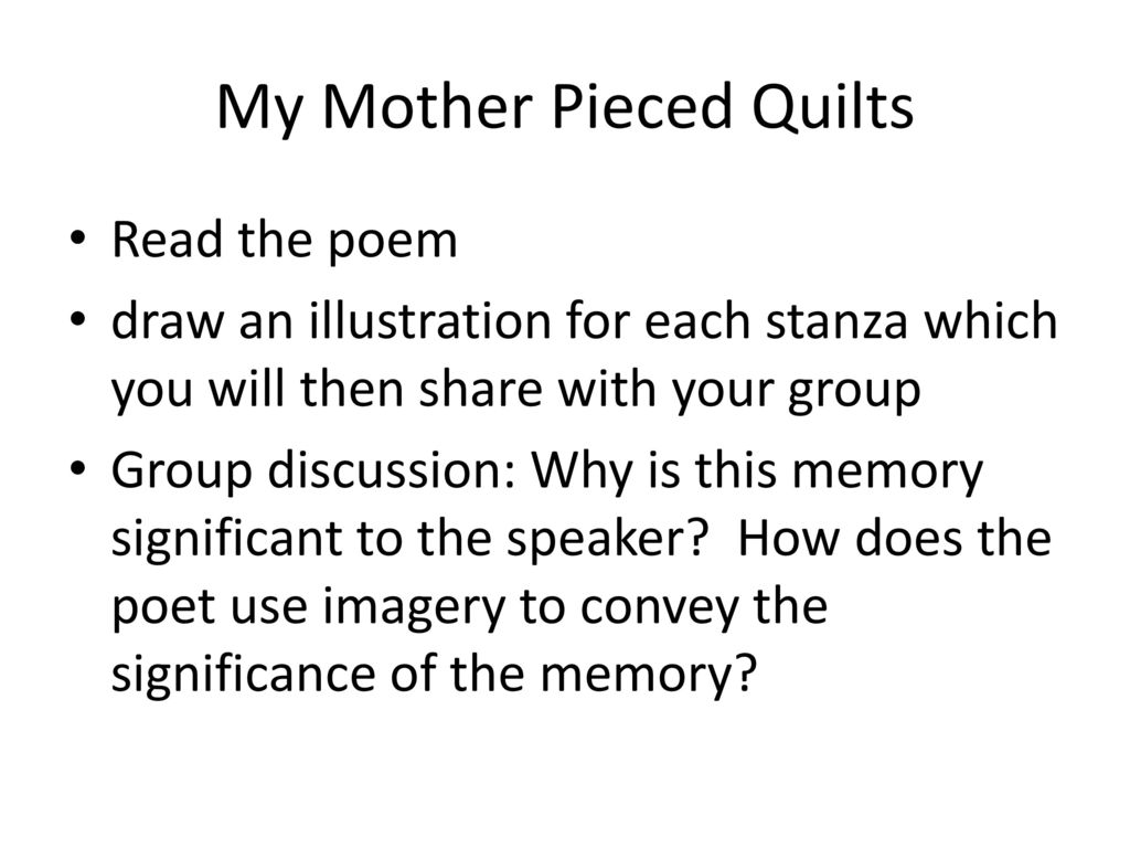 meaning of teresa palomo acostas my mother pieced quilts essay Piecing it: the mother-quilter as artist and historian in teresa palma acosta's my mother pieced quilts angeline godwin dvorak the quilt as a historical art form clearly provides a history of its individual creator, usually a woman, but more importantly, the specific details of each quilt's visual narrative link the universal experiences of.