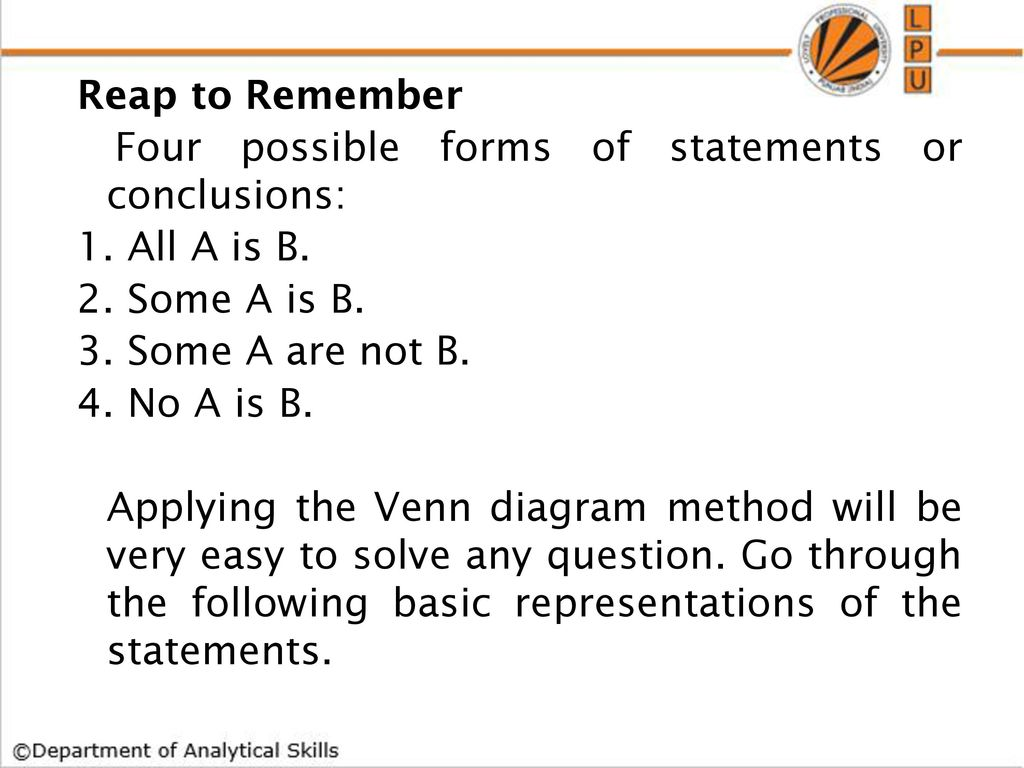 Syllogism ppt download reap to remember four possible forms of statements or conclusions 1 pooptronica