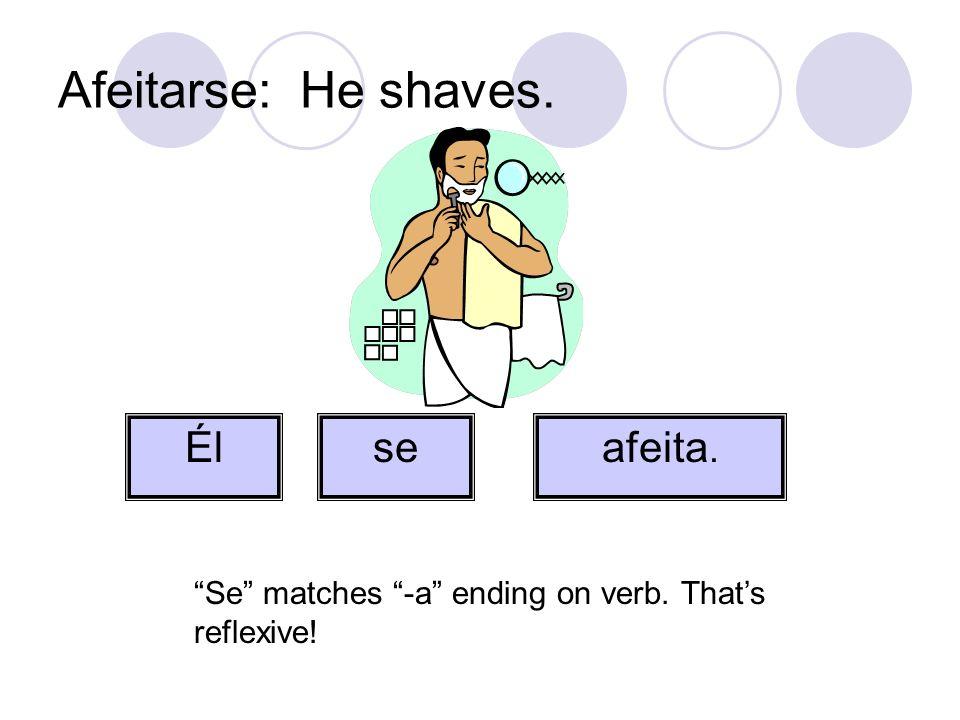 Afeitarse: He shaves. Él se afeita.