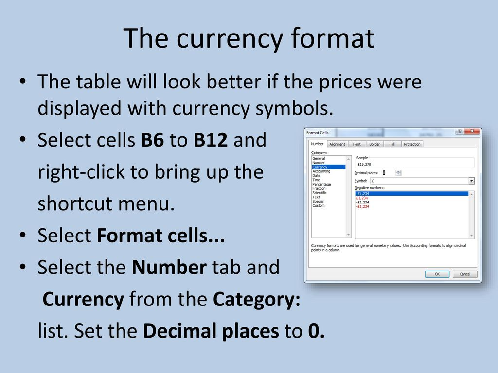 Cell referencing ppt download the currency format the table will look better if the prices were displayed with currency symbols biocorpaavc