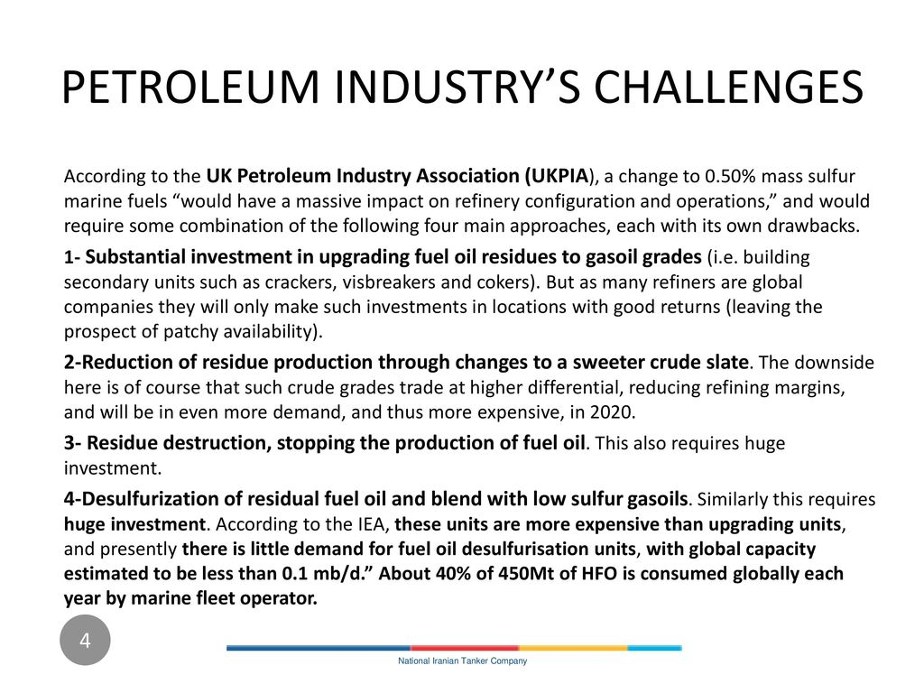 PETROLEUM INDUSTRY'S CHALLENGES