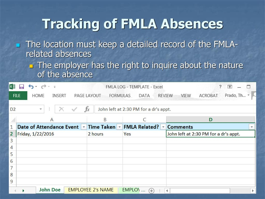 Fmla and qualifying event sample application for leave form the family and medical leave act fmla ppt download tracking of fmla absences 12565315 nvjuhfo Gallery