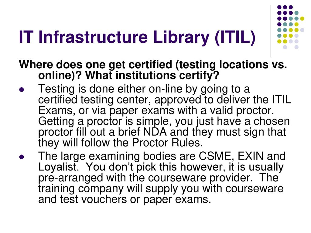 It Infrastructure Library Itil V3 Foundations Certification The