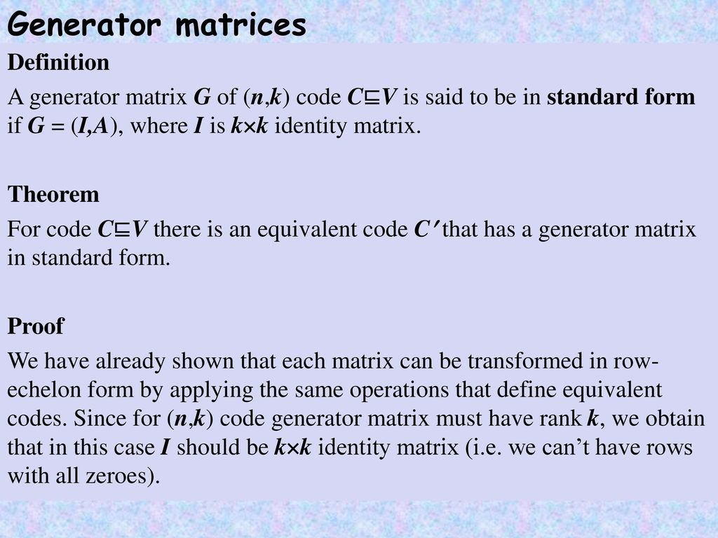 Information and coding theory ppt download generator matrices definition falaconquin