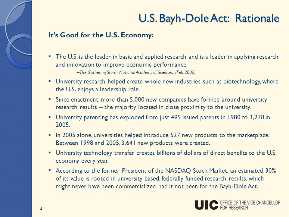 U.S. Bayh-Dole Act: Rationale