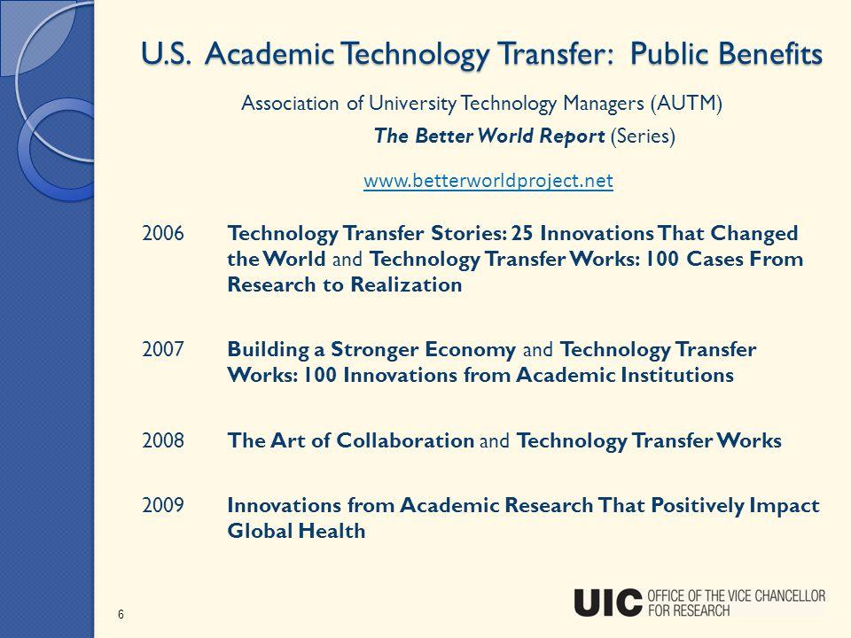 U.S. Academic Technology Transfer: Public Benefits