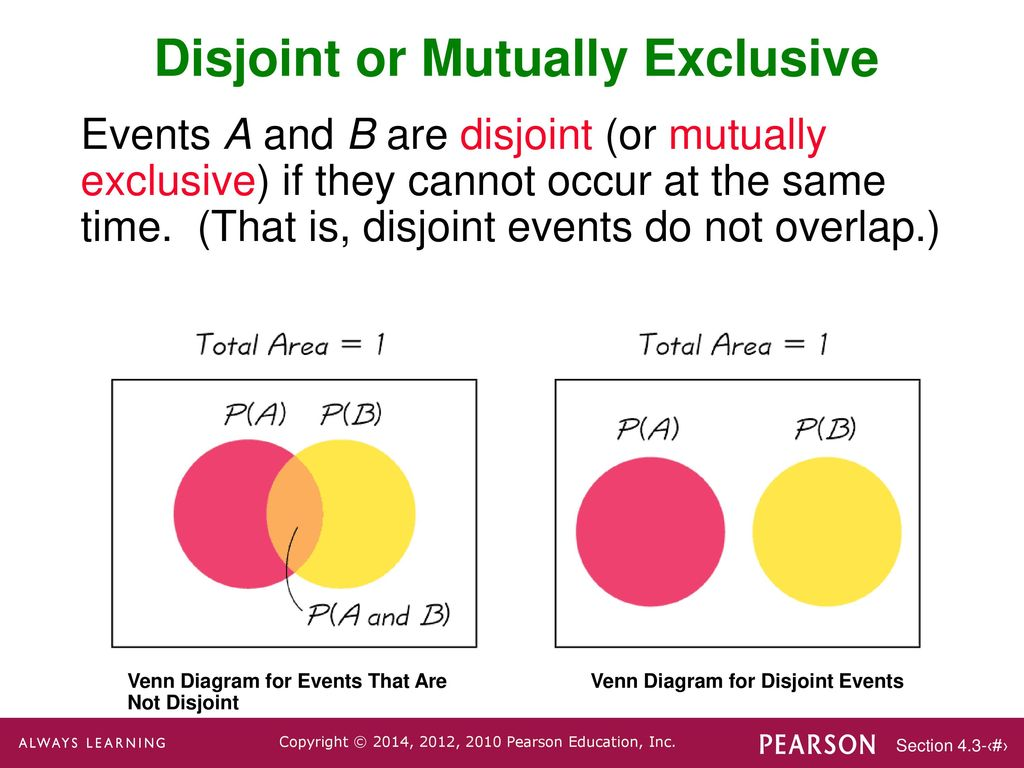 Lecture slides elementary statistics twelfth edition ppt download disjoint or mutually exclusive pooptronica
