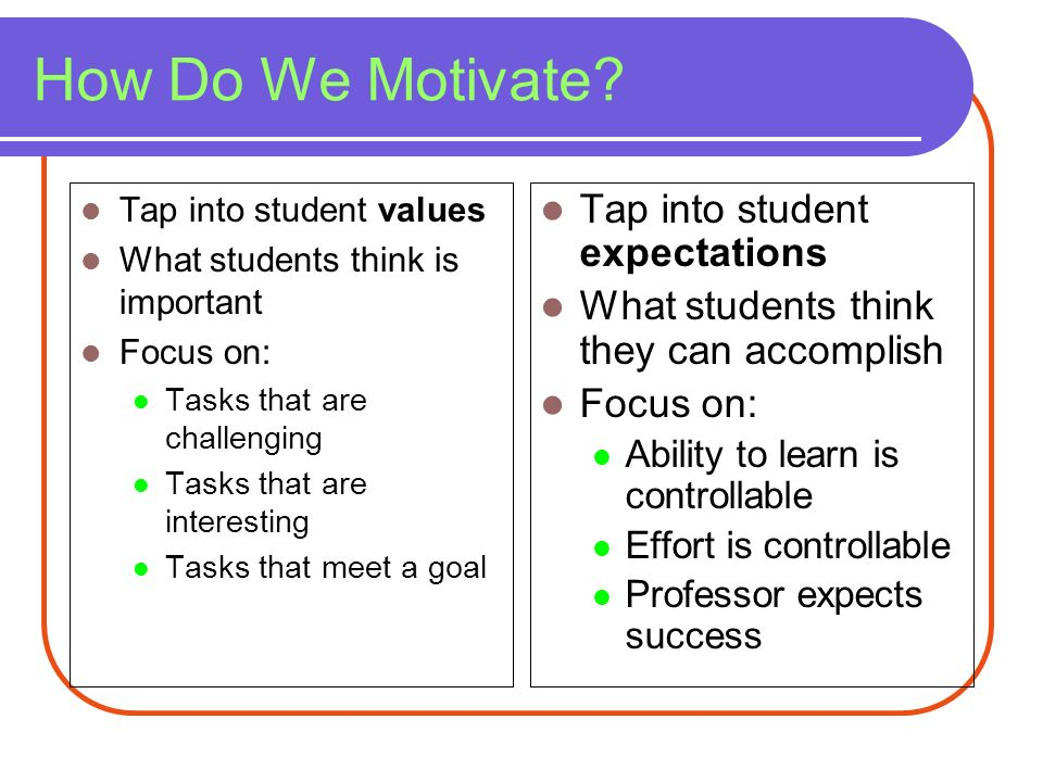 How Do We Motivate Tap into student expectations