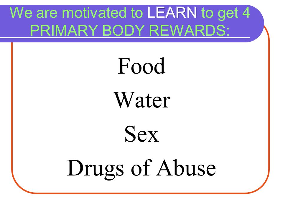 We are motivated to LEARN to get 4 PRIMARY BODY REWARDS: