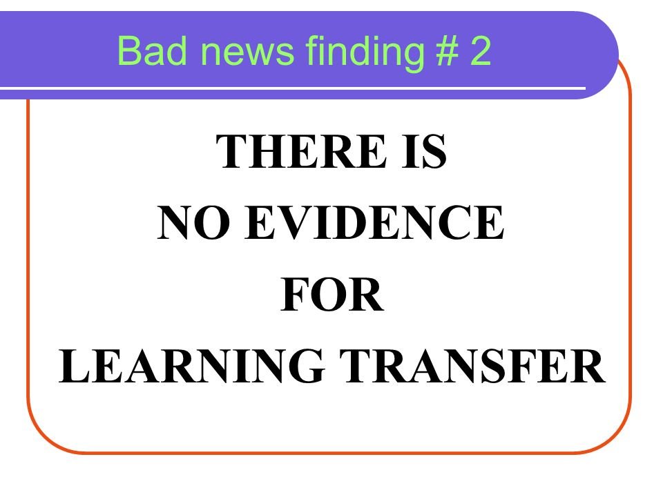 THERE IS NO EVIDENCE FOR LEARNING TRANSFER