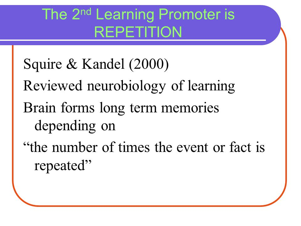 The 2nd Learning Promoter is REPETITION