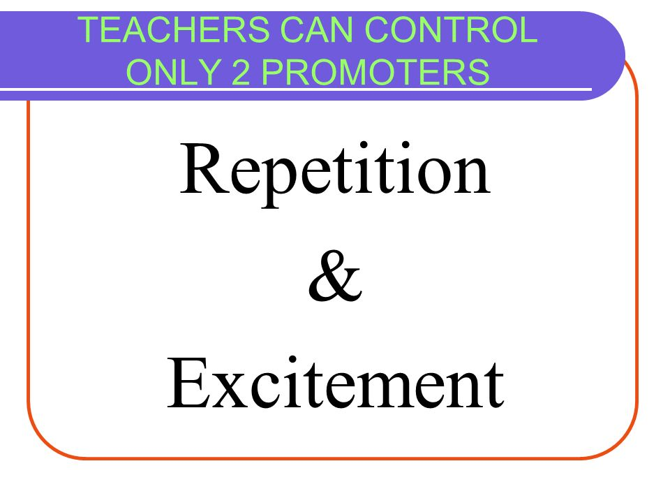 TEACHERS CAN CONTROL ONLY 2 PROMOTERS