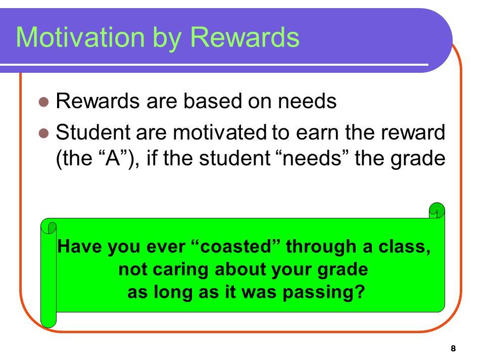Motivation by Rewards Rewards are based on needs