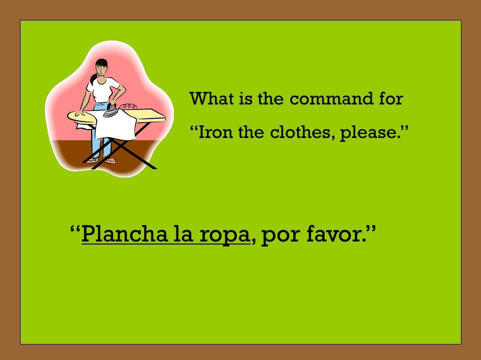 Plancha la ropa, por favor.