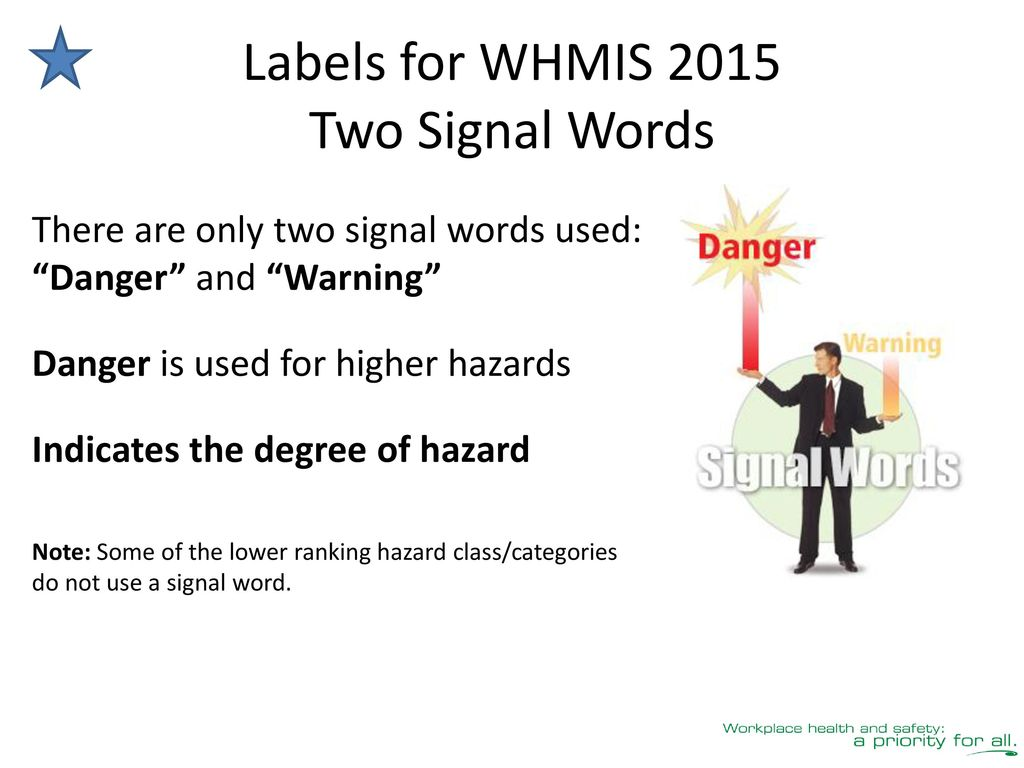 Whmis 2015 education for workers ppt download labels for whmis 2015 two signal words buycottarizona Image collections