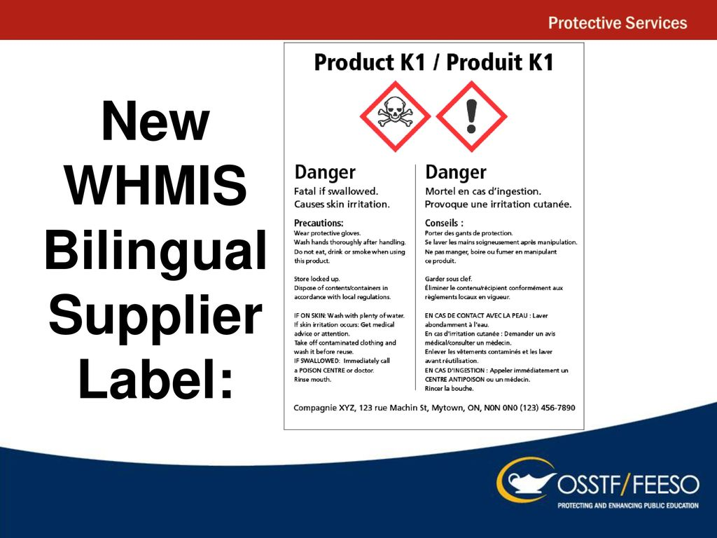 Whmis ppt download 40 new whmis bilingual supplier label buycottarizona Image collections