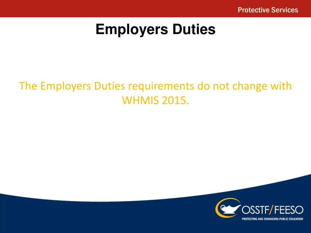 Whmis ppt download 45 the employers duties requirements do not change with whmis 2015 buycottarizona Image collections