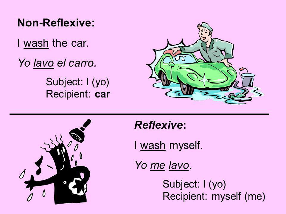Non-Reflexive: I wash the car. Yo lavo el carro. Reflexive: