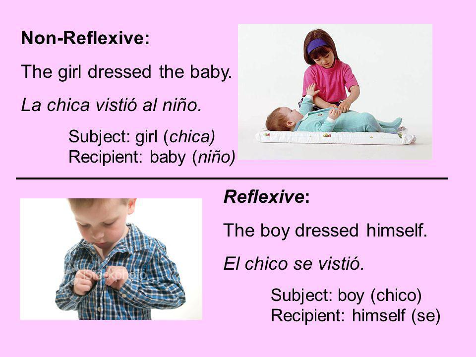 The girl dressed the baby. La chica vistió al niño.