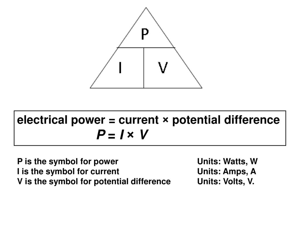 P1 formulas and questions ppt download electrical power current potential difference p i v buycottarizona Images